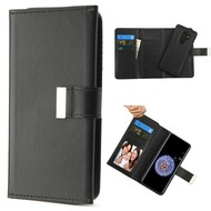 2-IN-1 Premium Tri-Fold Leather Wallet with Removable Magnetic Case for Samsung Galaxy S9 Plus - Black