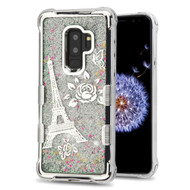 *Sale* Tuff Lite Quicksand Glitter Electroplating Transparent Case for Samsung Galaxy S9 Plus - Eiffel Tower Silver