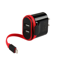 Dual USB Ports AC Travel Wall Charger with Integrated Lightning Connector - Black