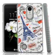 *Sale* Tough Triple Layer Hybrid Case for LG Aristo 2 / Fortune 2 / K8 (2018) / Tribute Dynasty / Zone 4 - Eiffel Tower
