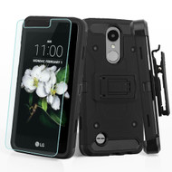 3-IN-1 Kinetic Case + Holster + Tempered Glass for LG Aristo 2 / Fortune 2 / K8 (2018) / Tribute Dynasty - Black