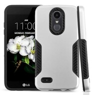 *Sale* Hybrid Case + Carbon Fiber Accents for LG Aristo 2 / Fortune 2 / K8 (2018) / Tribute Dynasty / Zone 4 - Silver