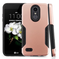 *Sale* Hybrid Armor Case + Carbon Accents for LG Aristo 2 / Fortune 2 / K8 (2018) / Tribute Dynasty / Zone 4 - Rose Gold