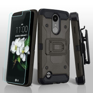 3-IN-1 Kinetic Case + Holster + Tempered Glass for LG Aristo 2 / Fortune 2 / K8 (2018) / Tribute Dynasty / Zone 4 - Grey