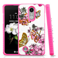 Tough Anti-Shock Hybrid Case for LG Aristo 2 / Fortune 2 / K8 (2018) / Tribute Dynasty / Zone 4- Butterfly and Flowers