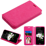Book-Style Leather Folio Case for LG Aristo 2 / Fortune 2 / K8 (2018) / Tribute Dynasty / Zone 4 - Hot Pink