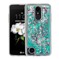 Quicksand Glitter Transparent Case for LG Aristo 2 / Fortune 2 / K8 (2018) / Tribute Dynasty / Zone 4 - Teal