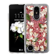 Quicksand Glitter Transparent Case for LG Aristo 2 / Fortune 2 / K8 (2018) / Tribute Dynasty / Zone 4 - Sally Flowers