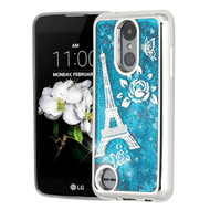 Electroplating Quicksand Glitter Case for LG Aristo 2 / Fortune 2 / K8 (2018) / Tribute Dynasty - Eiffel Tower Blue