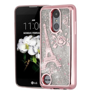 Electroplating Quicksand Glitter Case for LG Aristo 2 / Fortune 2 / K8 (2018) / Tribute Dynasty - Eiffel Tower Rose Gold