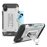 *Sale* The Mechanic Hybrid Armor Case with Card Holder and Metal Loop Kickstand for iPhone X - Silver