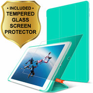 All-In-One Smart Hybrid Case and Tempered Glass Screen Protector for iPad (2018/2017) / iPad Air - Teal Green