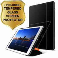 All-In-One Smart Hybrid Case and Tempered Glass Screen Protector for iPad (2018/2017) / iPad Air - Black