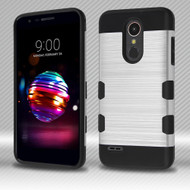 Military Grade Certified TUFF Trooper Dual Layer Hybrid Armor Case for LG K30 - Silver