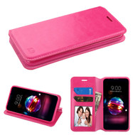 Book-Style Leather Folio Case for LG K30 - Hot Pink