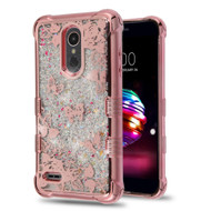 Electroplating Tuff Lite Quicksand Case for LG K30 - Butterfly Rose Garden