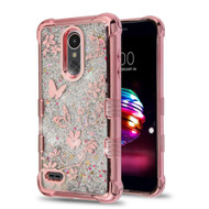 Electroplating Tuff Lite Quicksand Case for LG K30 - Butterfly Spring Flower