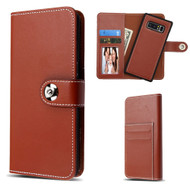 2-IN-1 Premium Leather Wallet Folio with Detachable Magnetic Case for Samsung Galaxy Note 8 - Brown