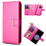 2-IN-1 Premium Tri-Fold Leather Wallet with Removable Magnetic Case for Samsung Galaxy S9 - Hot Pink