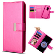 2-IN-1 Premium Tri-Fold Leather Wallet with Removable Magnetic Case for Samsung Galaxy S9 Plus - Hot Pink