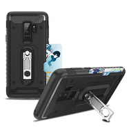 The Mechanic Hybrid Armor Case with Card Holder and Metal Loop Kickstand for Samsung Galaxy S9 Plus - Black