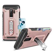 The Mechanic Hybrid Armor Case with Card Holder and Metal Loop Kickstand for Samsung Galaxy S9 Plus - Rose Gold