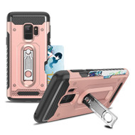 The Mechanic Hybrid Armor Case with Card Holder and Metal Loop Kickstand for Samsung Galaxy S9 - Rose Gold