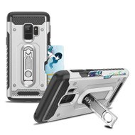 The Mechanic Hybrid Armor Case with Card Holder and Metal Loop Kickstand for Samsung Galaxy S9 - Silver