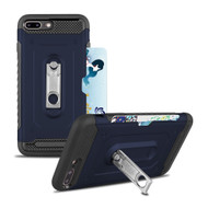 The Mechanic Hybrid Armor Case with Card Holder and Metal Loop Kickstand for iPhone 8 Plus / 7 Plus - Navy Blue