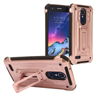 Rugged Hybrid Kickstand Case for LG Aristo 2 / Fortune 2 / K8 (2018) / Tribute Dynasty / Zone 4 - Rose Gold
