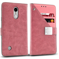Cosmopolitan Leather Canvas Wallet Case for LG Aristo 2 / Fortune 2 / K8 (2018) / Tribute Dynasty / Zone 4 - Pink