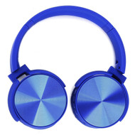 Foldable Bluetooth Wireless On-Ear Headphones with Mic and FM Radio - Blue