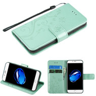 Embossed Butterfly Flower Leather-Style Wallet Stand Case for iPhone 8 / 7 - Teal Green