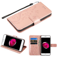 Embossed Butterfly Flower Leather-Style Wallet Stand Case for iPhone 8 Plus / 7 Plus - Rose Gold
