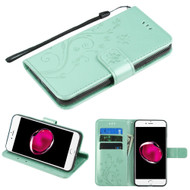 Embossed Butterfly Flower Leather-Style Wallet Stand Case for iPhone 8 Plus / 7 Plus - Teal Green