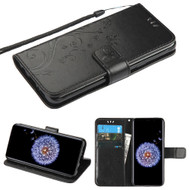 Embossed Butterfly Flower Leather-Style Wallet Stand Case for Samsung Galaxy S9 Plus - Black