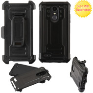 Advanced Hybrid Armor Case and Holster for LG Aristo 2 / Fortune 2 / K8 (2018) / Tribute Dynasty / Zone 4 - Black