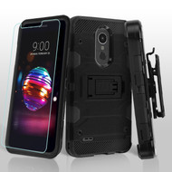 Military Grade Certified Storm Tank Hybrid Case with Holster and Tempered Glass Screen Protector for LG K30 - Black