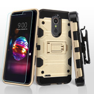 Military Grade Certified Storm Tank Hybrid Case with Holster and Tempered Glass Screen Protector for LG K30 - Gold