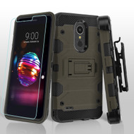 Military Grade Certified Storm Tank Hybrid Case with Holster and Tempered Glass Screen Protector for LG K30 - Grey