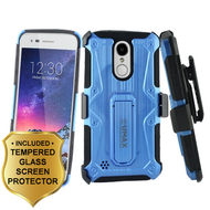 Armor Case + Holster + Tempered Glass for LG Aristo 2 / Fortune 2 / K8 (2018) / Tribute Dynasty / Zone 4 - Blue