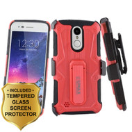 Armor Case + Holster + Tempered Glass for LG Aristo 2 / Fortune 2 / K8 (2018) / Tribute Dynasty / Zone 4 - Red