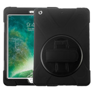 3-IN-1 Hybrid Armor Case with Hand Strap and Rotatable Stand for iPad (2018/2017) - Black