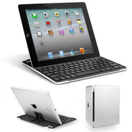 Ultra-Thin Bluetooth Wireless Aluminum Keyboard Cover with Stand for iPad 2, iPad 3 and iPad 4th Generation - Silver