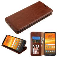 Book-Style Leather Folio Case for Motorola Moto E5 Plus - Brown