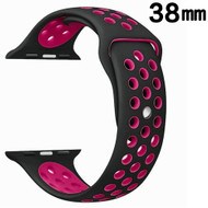 Performance Sports Silicone Watch Band for Apple Watch 38mm - Black Hot Pink