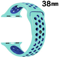 Performance Sports Silicone Watch Band for Apple Watch 38mm - Teal Navy Blue