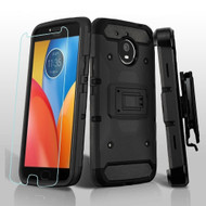 3-IN-1 Kinetic Hybrid Armor Case with Holster and Tempered Glass Screen Protector for Motorola Moto E4 Plus - Black