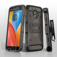 3-IN-1 Kinetic Hybrid Armor Case with Holster and Tempered Glass Screen Protector for Motorola Moto E4 Plus - Grey