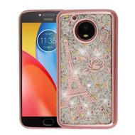 Electroplating Quicksand Glitter Transparent Case for Motorola Moto E4 Plus - Eiffel Tower Rose Gold